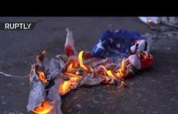 حرق العلم الأمريكي في تظاهرات أمام القنصلية الأمريكية في سلانيك اليونانية