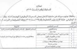محافظة جنوب سيناء تعلن عن طرح 45 وظيفة