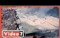 شاهد   حريق هائل في سوق توشكى في حلوان