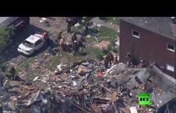 انفجار قوي في مدينة بالتيمور الأمريكية يسوي المنازل أرضا