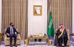"""ولي العهد يبحث مع """"كوشنر"""" استئناف المفاوضات بين الجانبَيْن الفلسطيني والإسرائيلي"""