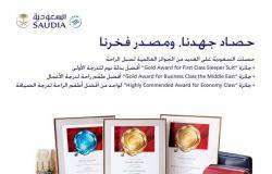 """""""السعودية"""" تحصد 3 جوائز لأطقم وسائل الراحة المقدّمة لضيوف رحلاتها"""