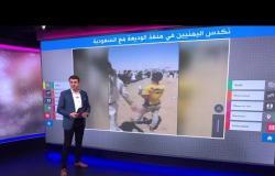 يمنيون ينامون في العراء بأمتعتهم على معبر الوديعة مع السعودية