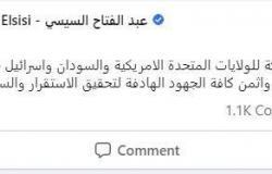 أول تعليق من الرئيس السيسي على إعلان التطبيع بين السودان وإسرائيل برعاية أمريكية