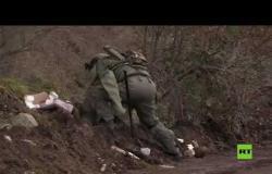 العسكريون الروس يباشرون عملية إزالة الألغام في قره باغ