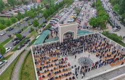 شاهد .. منظر بهي لمصليي العيد في سراييفو بجامع الملك فهد