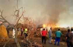 «التهم 18 رأس ماشية وحمار».. حريق هائل بمنزلين وحظيرتي مواشي في المنيا