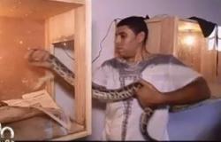 """بالفيديو. مواطن يحول منزله لـ""""بيت زواحف"""" بسبب حبه الشديد للثعابين"""