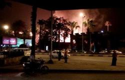 ارتفاع السنة اللهب والأدخنة فى موقع حريق مدينة السينما فى الهرم