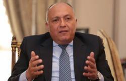 وزير الخارجية يصل باريس لرئاسة وفد مصر فى مؤتمر السلام الدولى
